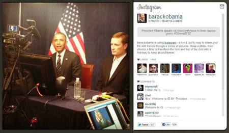 Barack Obama using instagram Follow us